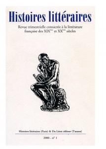 Couverture d'Histoires littéraires n°1