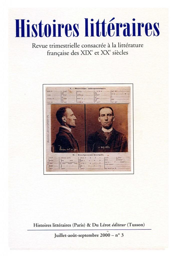 Couverture d'Histoires littéraires n°3