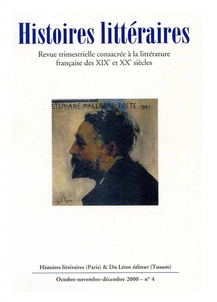 Couverture d'Histoires littéraires n°4