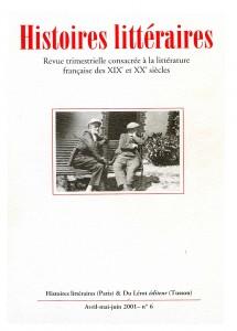 Couverture d'Histoires littéraires n°6