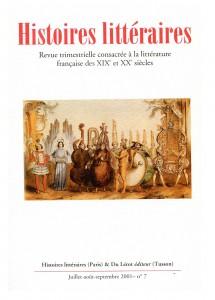 Couverture d'Histoires littéraires n°7