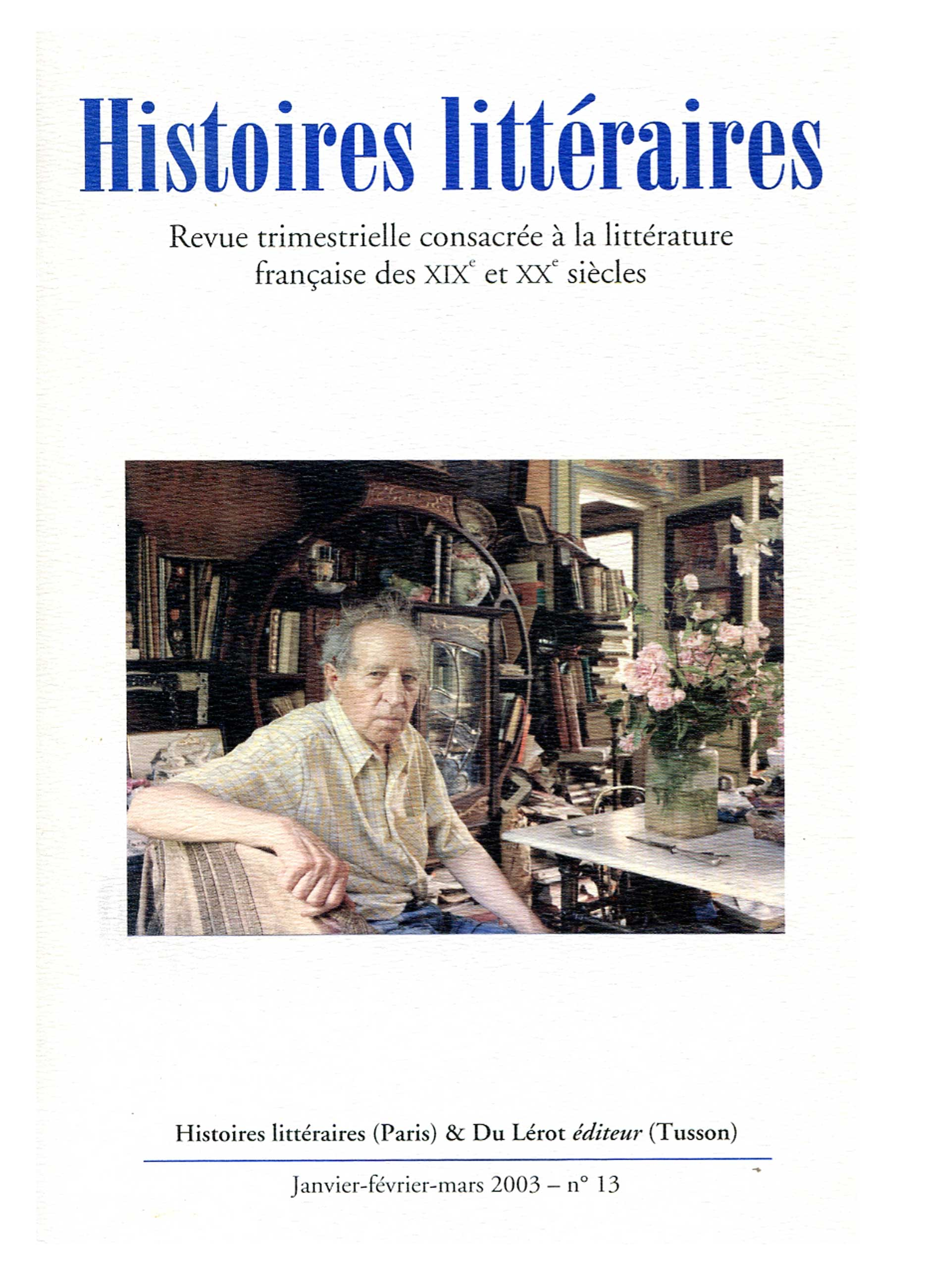 Couverture d'Histoires littéraires n°13