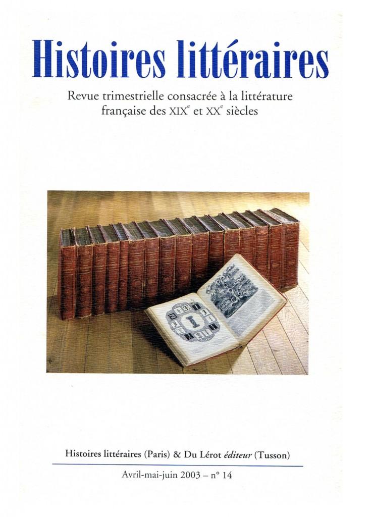 Couverture d'Histoires littéraires n°14