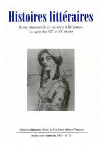 Couverture d' Histoires littéraires n°15