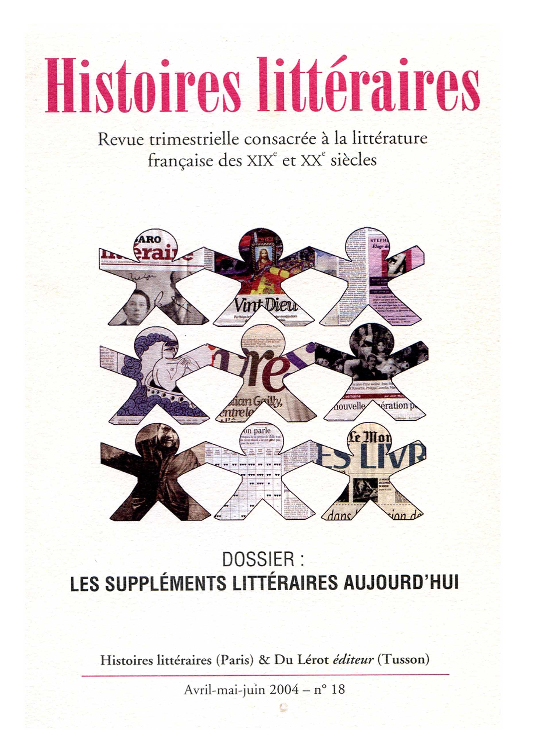 Couverture d'Histoires littéraires n°18