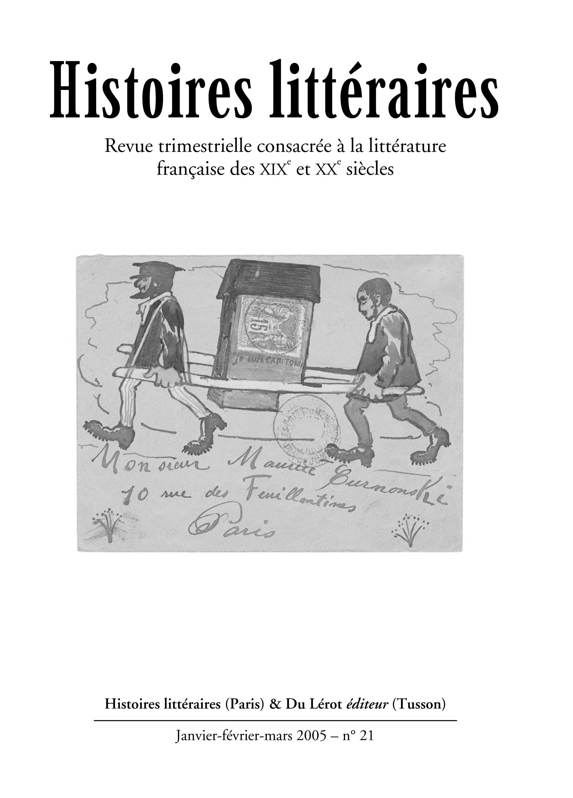 Couverture d'Histoires littéraires n°21