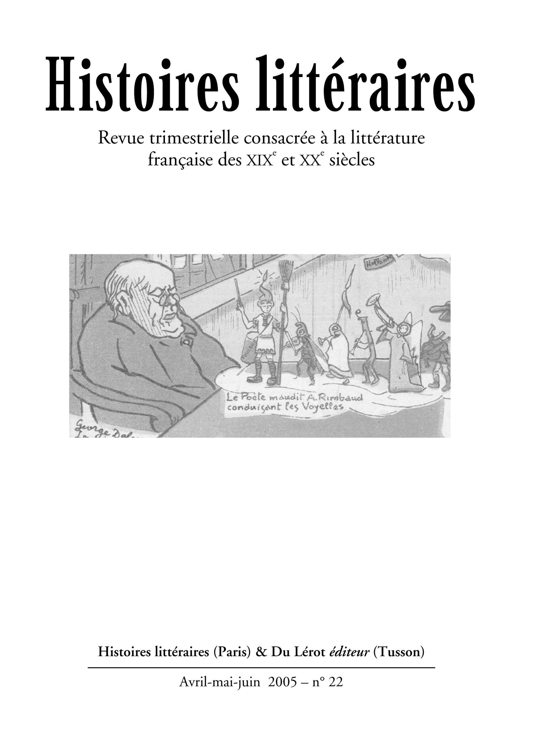 Couverture d'Histoires littéraires n°22