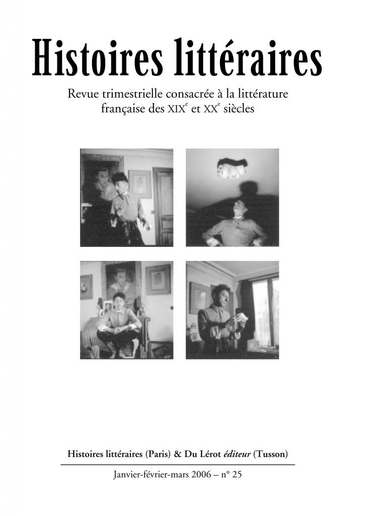 Couverture d'Histoires littéraires n°25