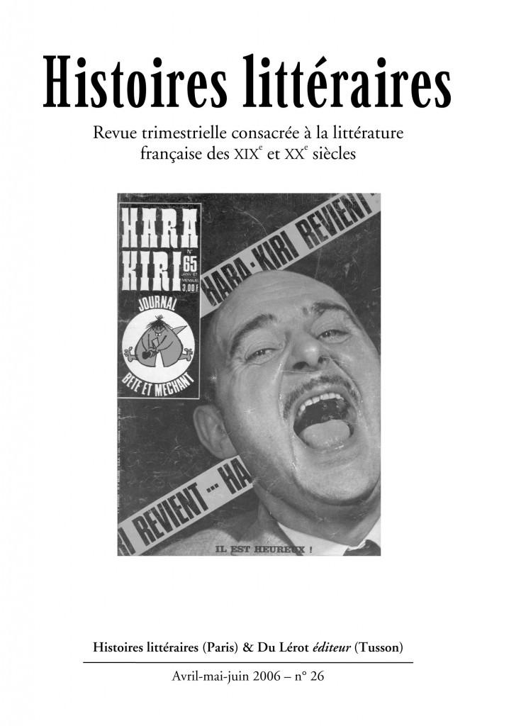 Couverture d'Histoires littéraires n°26