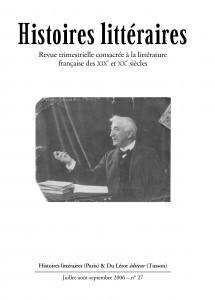 Couverture d'Histoires littéraires n°27