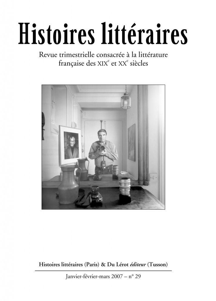Couverture d'Histoires littéraires n°29