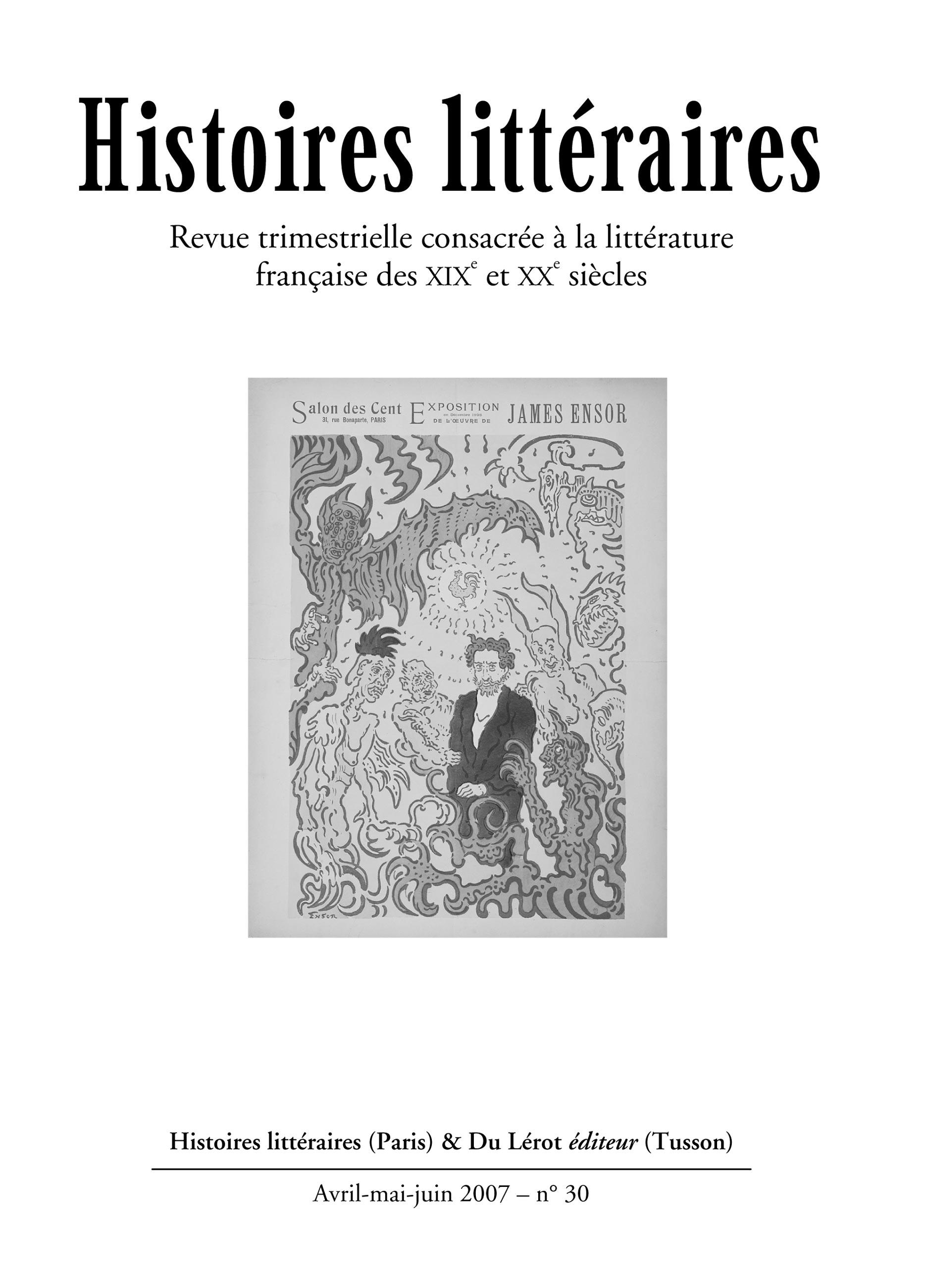 Couverture d'Histoires littéraires n°30