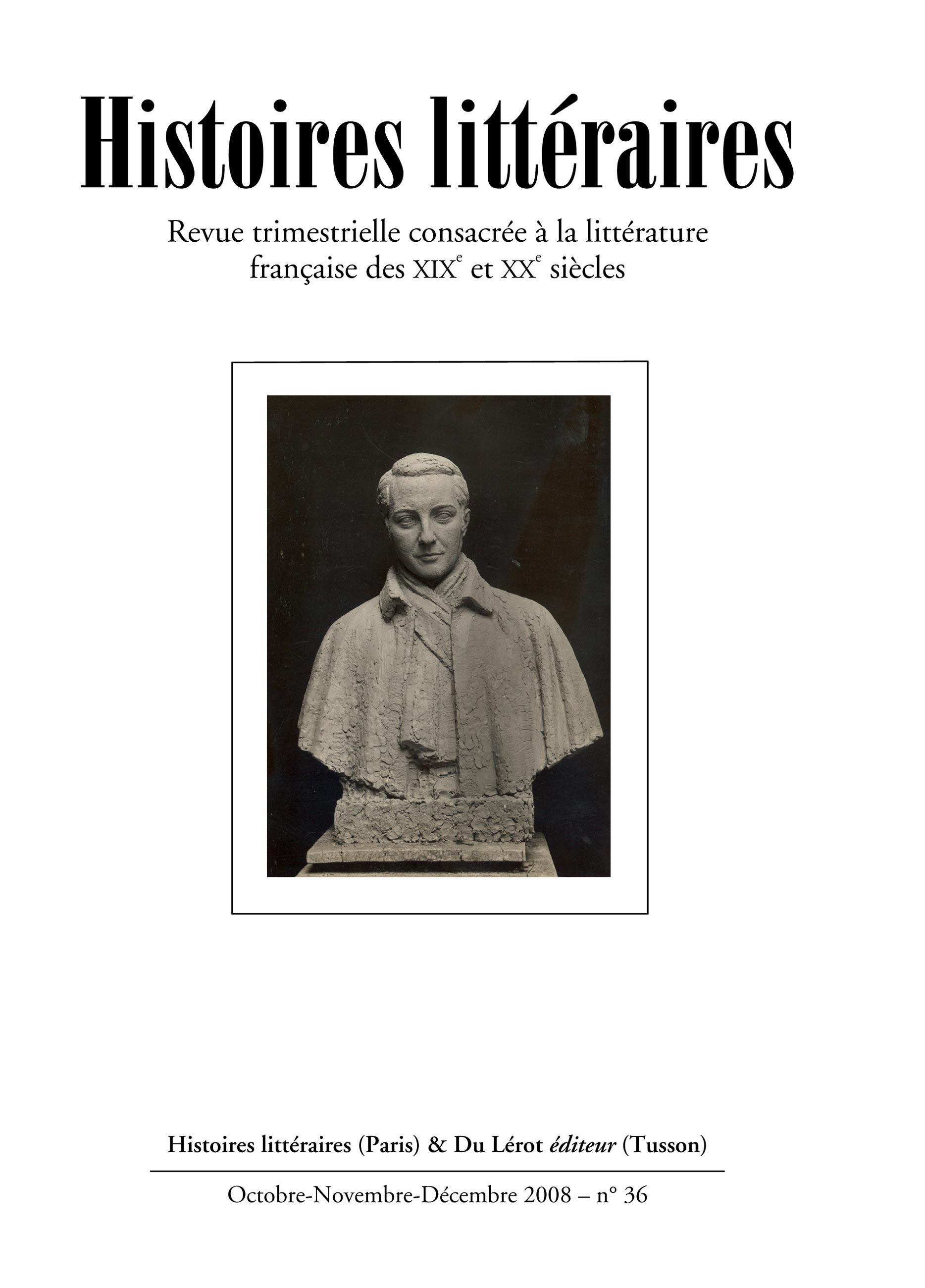 Couvertures d'Histoires littéraires n°36