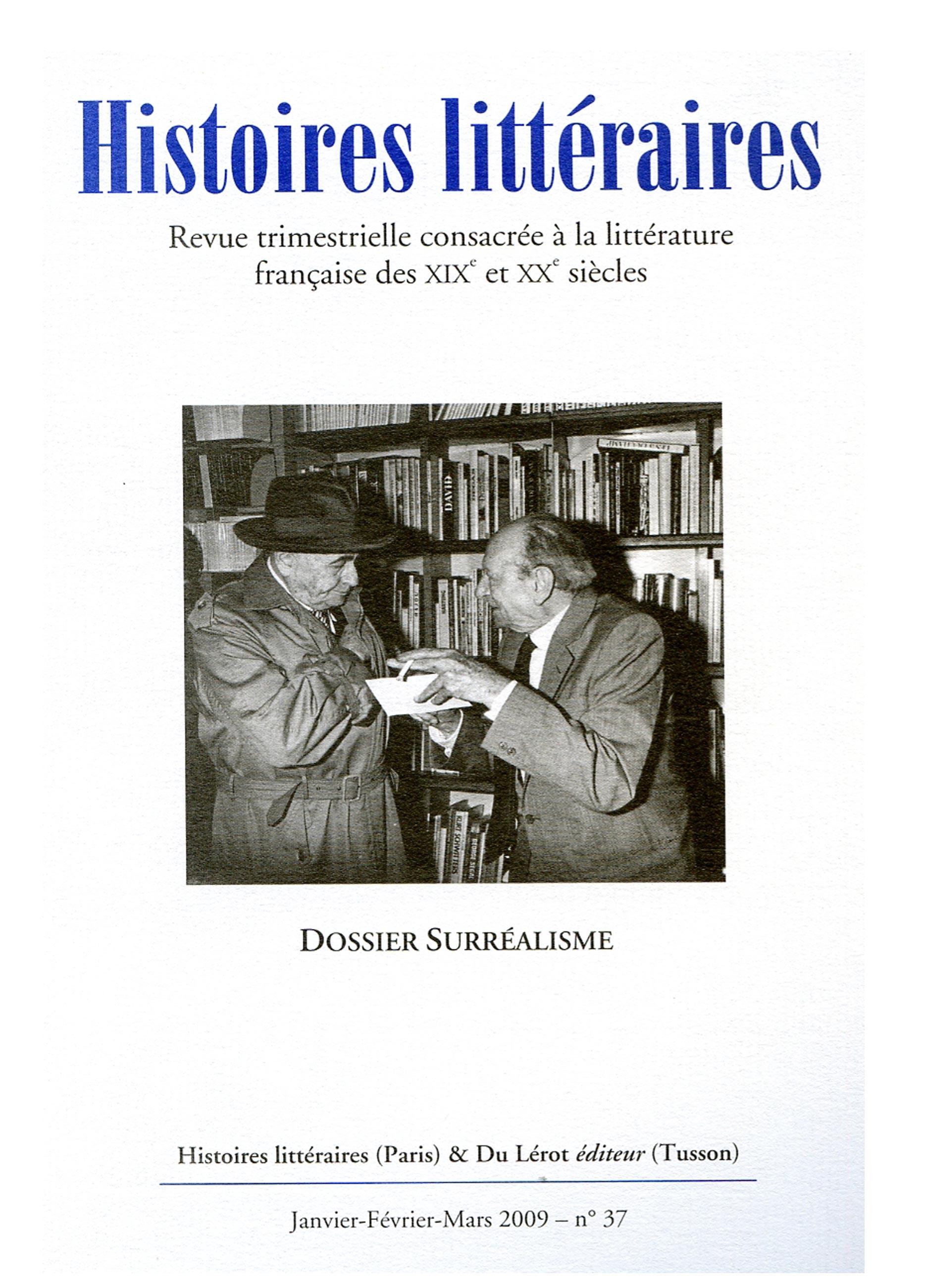 Couverture d'Histoires littéraires n°37