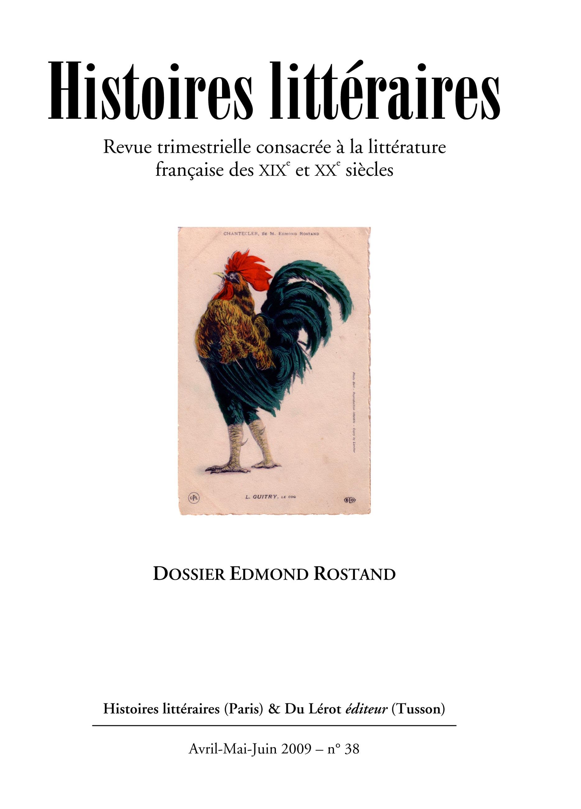 Couverture d'Histoires littéraires n°38
