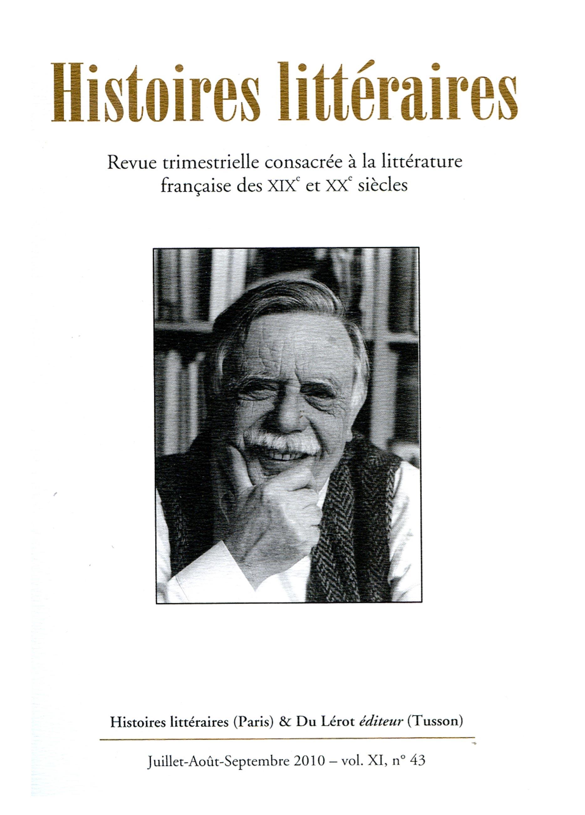 Couverture d'Histoires littéraires n°43
