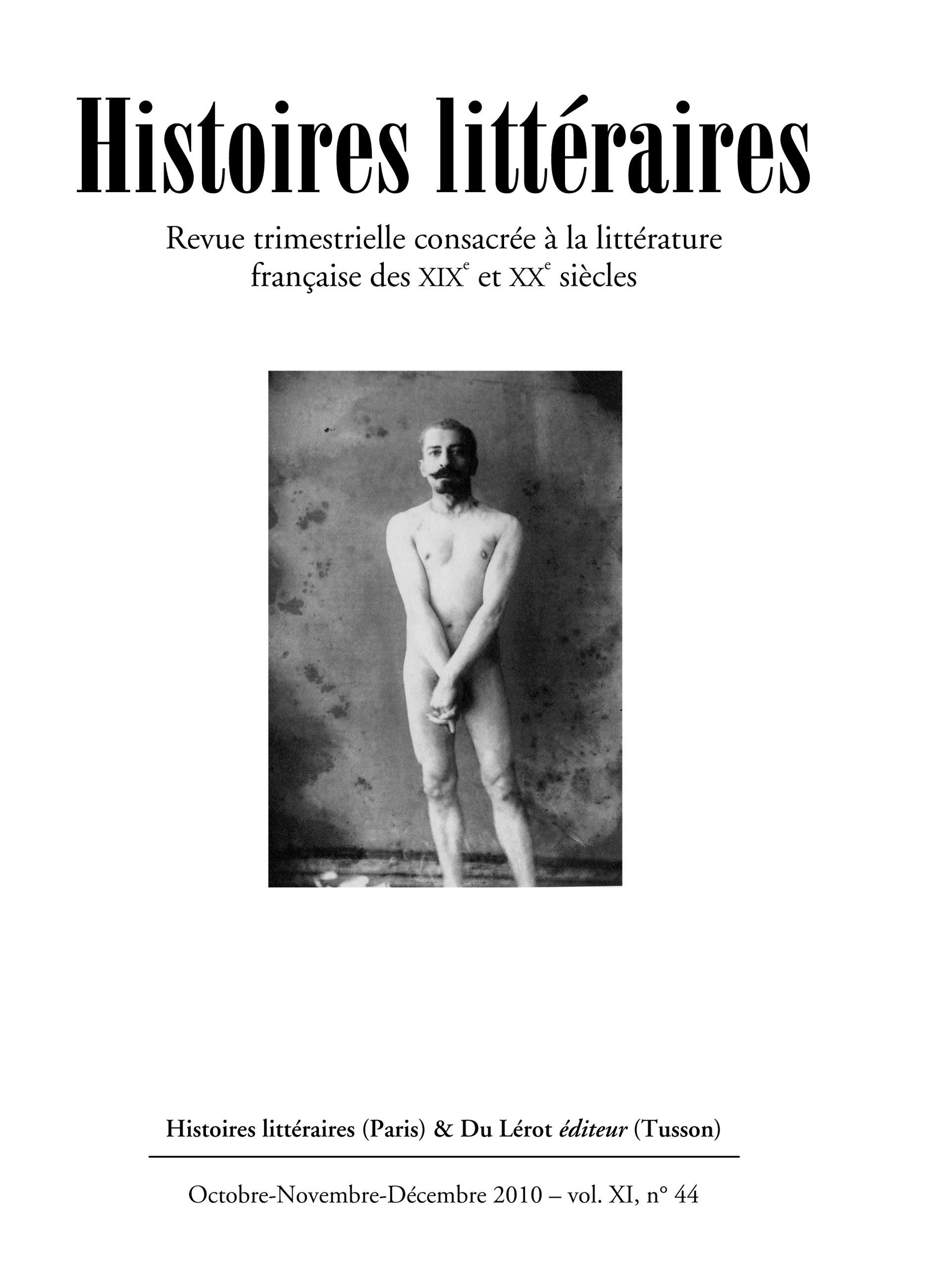 Couverture d'Histoires littéraires n°44
