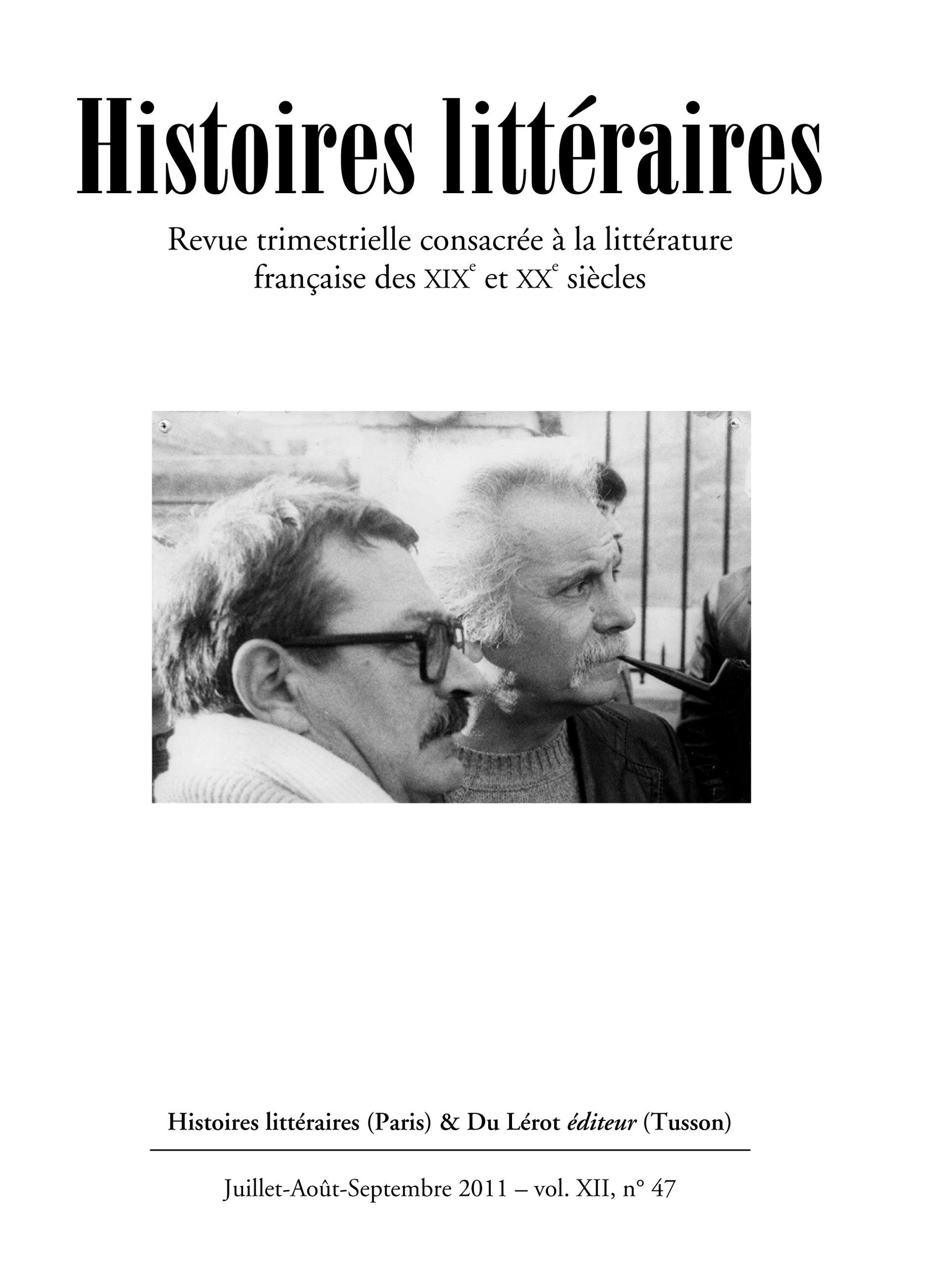 Couverture d'Histoires littéraires n°47