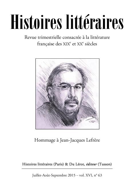 Histoires littéraires n°63 juillet-août-septembre 2015