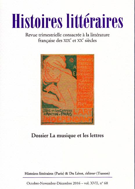 Histoires littéraires n°68 octobre-novembre-décembre 2016
