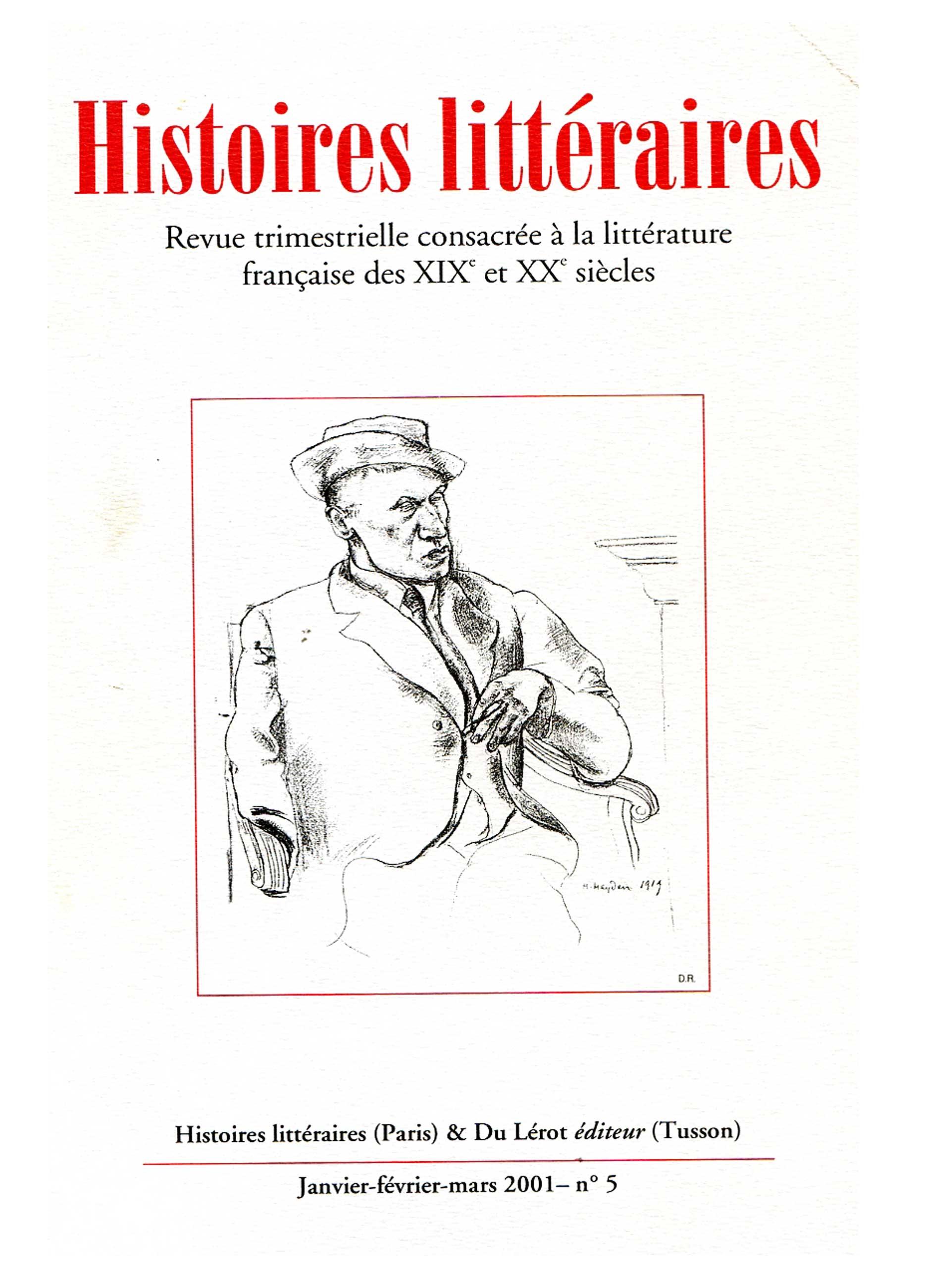 Couverture d'Histoires littéraires n°5