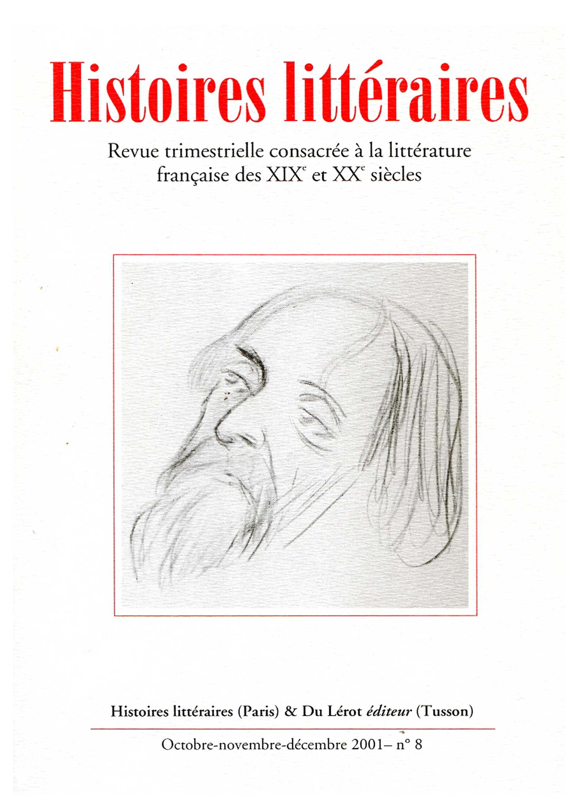 Couverture d'Histoires littéraires n°8