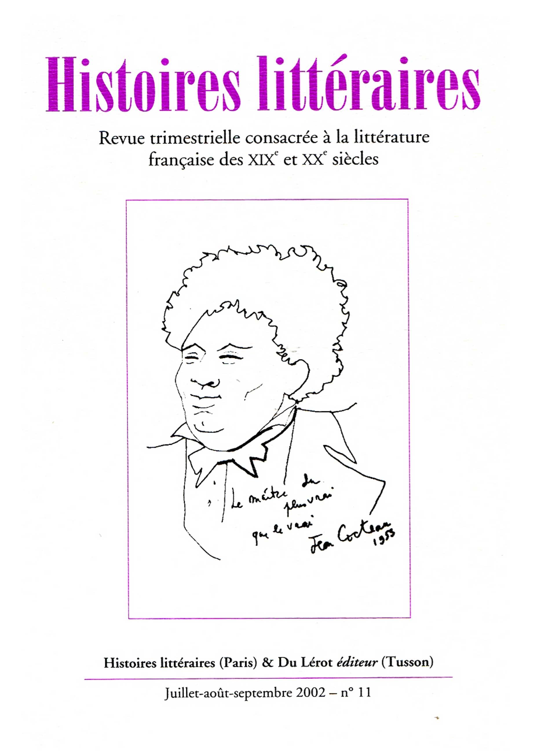 Couverture d'Histoires littéraires n°11