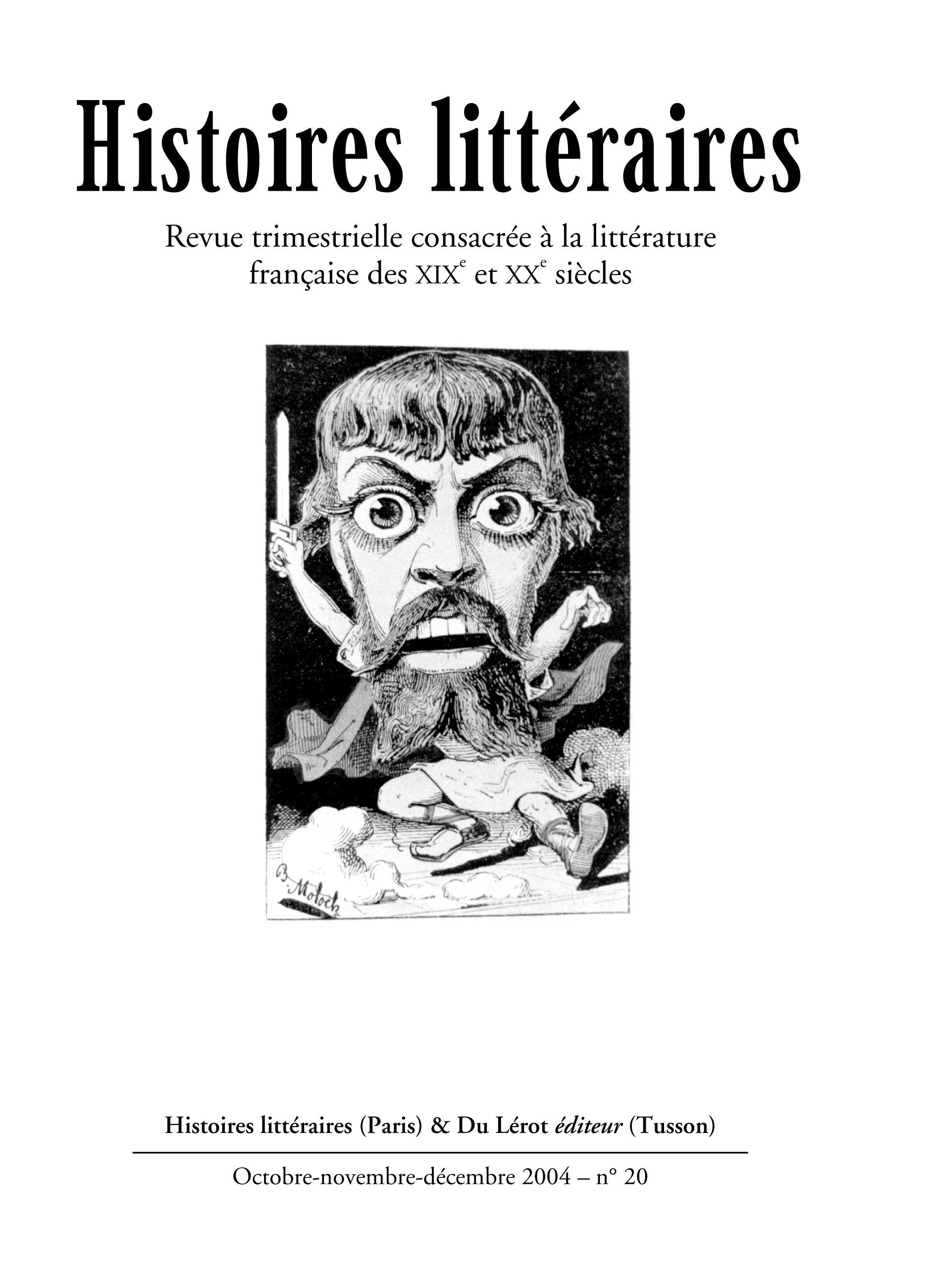 Couverture d'Histoires littéraires n°20