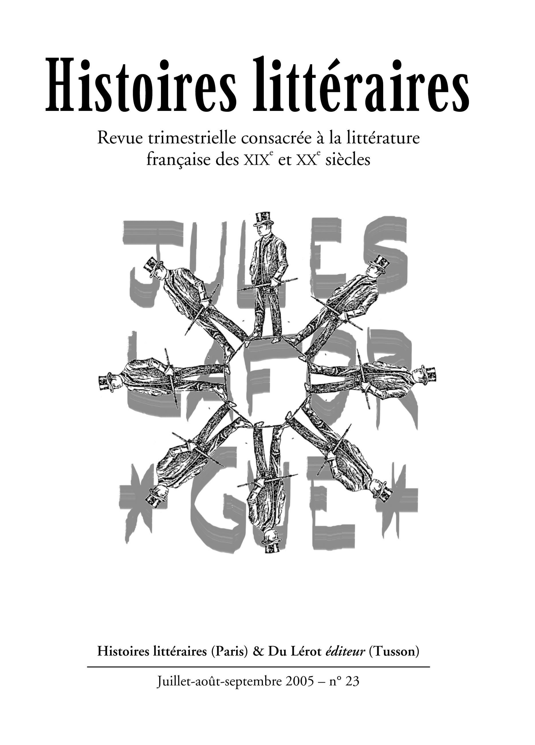 Couverture d'Histoires littéraires n°23