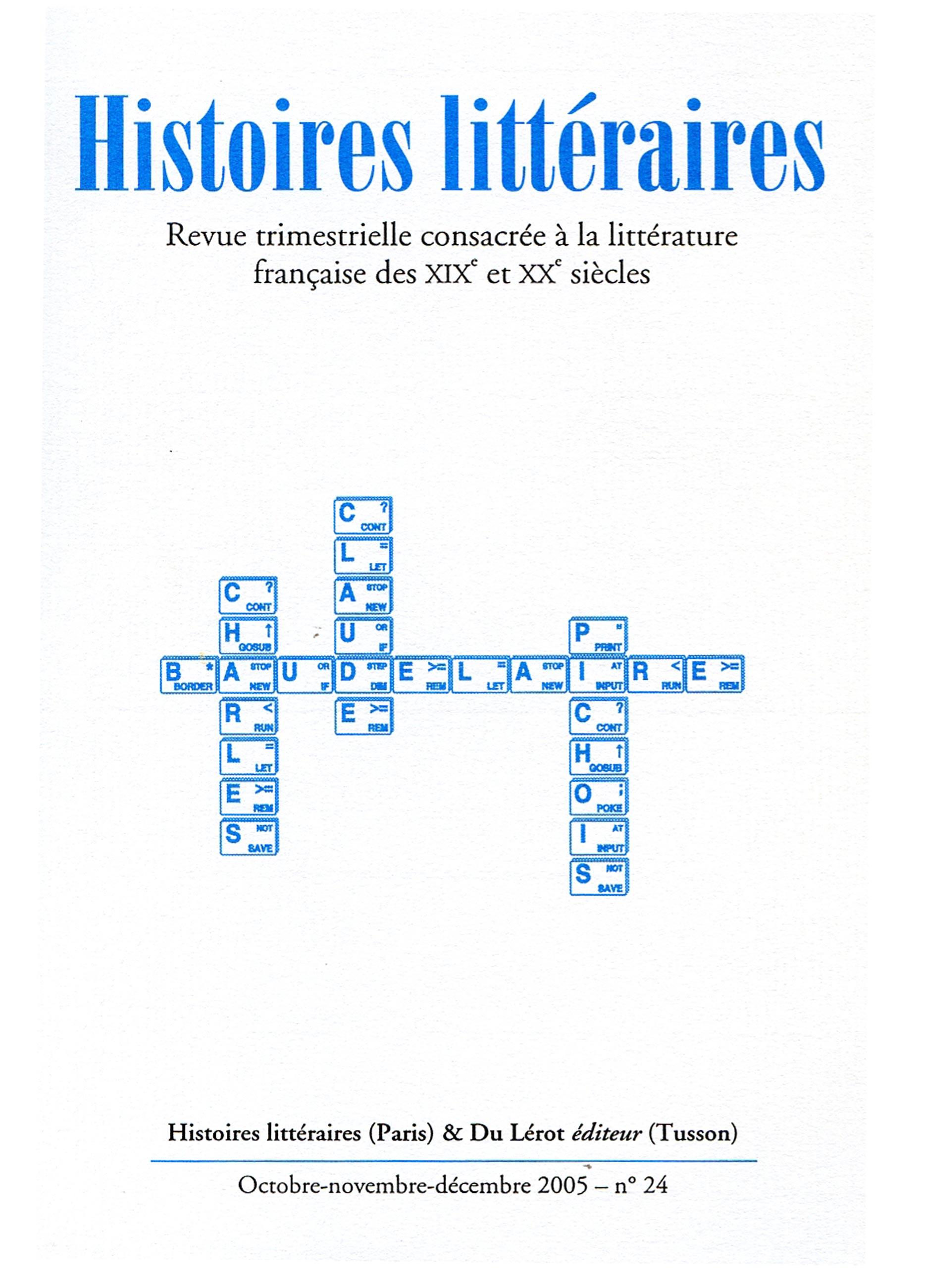 Couverture d'Histoires littéraires n°24