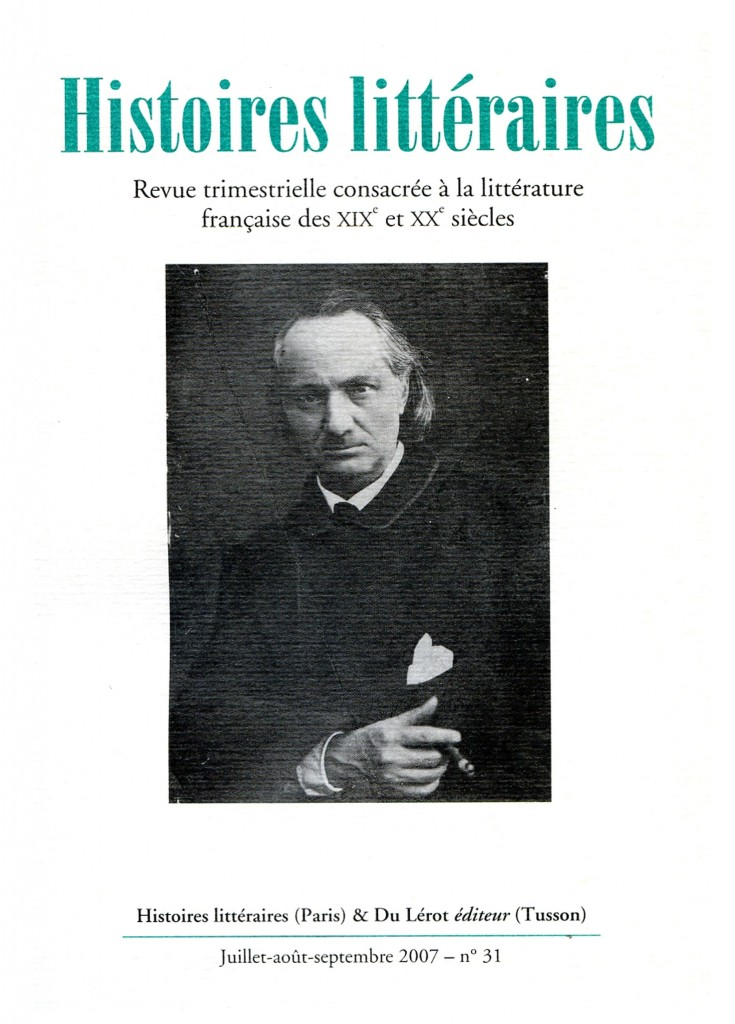 Couverture d'Histoires littéraires n°31