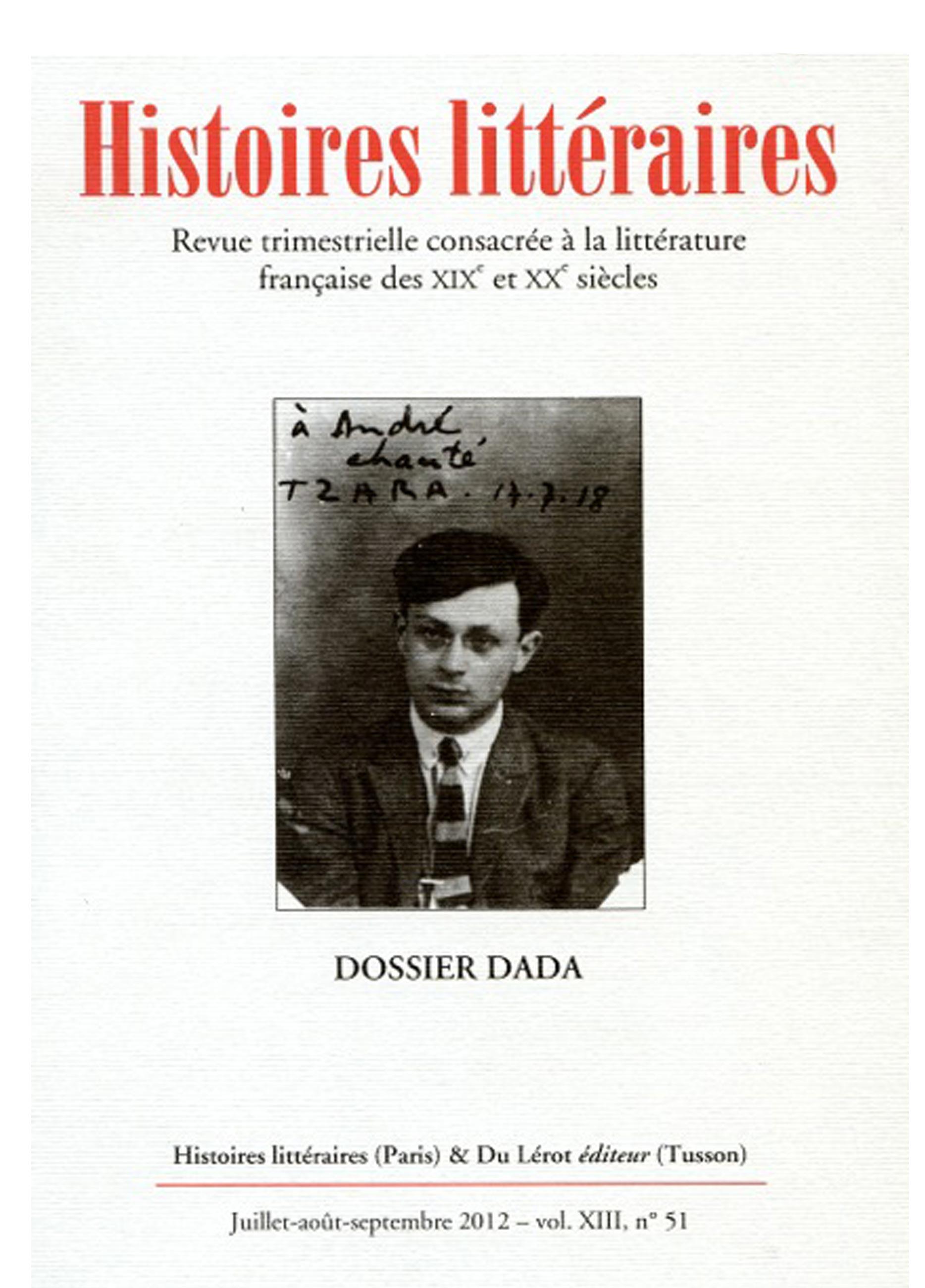 Couverture d'Histoires littéraires n°51