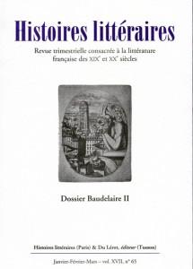 Histoires littéraires n°65 janvier-février-mars 2016