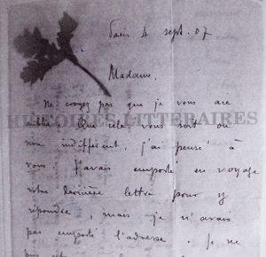 lettre de Remy de Gourmont à l'amie lointaine
