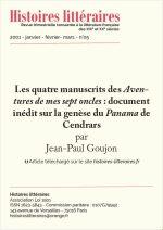 Les quatre manuscrits des <em>Aventures de mes sept oncles</em> : document inédit sur la genèse du <em>Panama</em> de Cendrars
