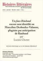 Un <em>faux Rimbaud</em> encore non identifié ou Marceline Desbordes-Valmore, plagiaire par anticipation de Rimbaud