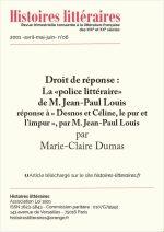 """Droit de réponse : La """"police littéraire"""" de M. Jean-Paul Louis"""