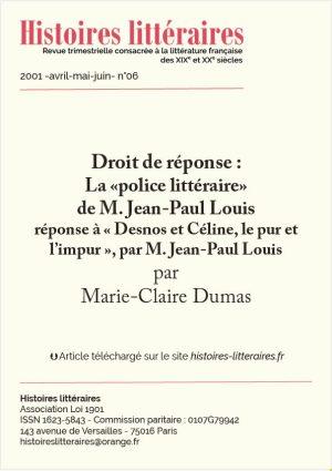 """Page de garde droit de réponse """"Céline, Desnos"""""""