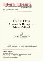 Les cinq lettres. À propos de Richepin et Nina de Villard