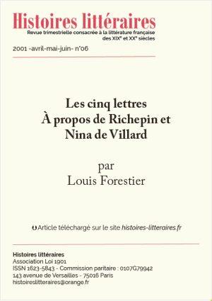 Page de garde Richepin et Nina de Villard