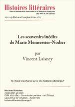 Les souvenirs inédits de Marie Mennessier-Nodier