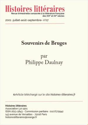 Page de garde de souvenirs de Bruges