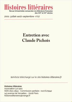 Page de garde entretien avec Claude Pichois