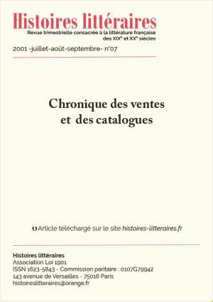 Page de garde chronique des ventes et des catalogues