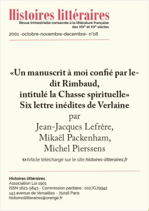 Page de garde de six lettres inédites de Verlaine
