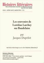 Les souvenirs de Lorédan Larchey sur Baudelaire