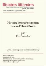 Histoire littéraire et roman : le cas d'Henri Bosco