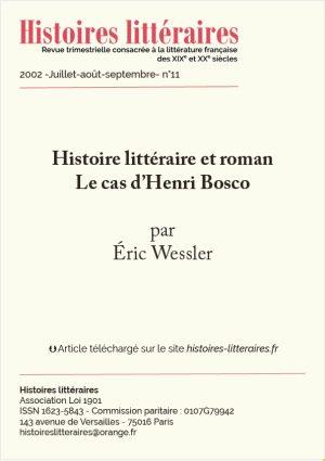 page de garde du cas d'Henri Bosco