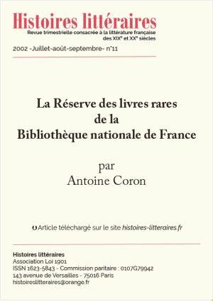 page de garde de la réserve des livres rares de la BnF