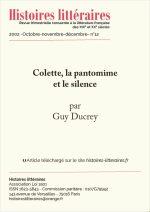 Colette, la pantomime et le silence